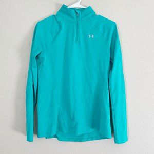 UNDER ARMOUR Semi-Fitted Green Quarter Pullover S